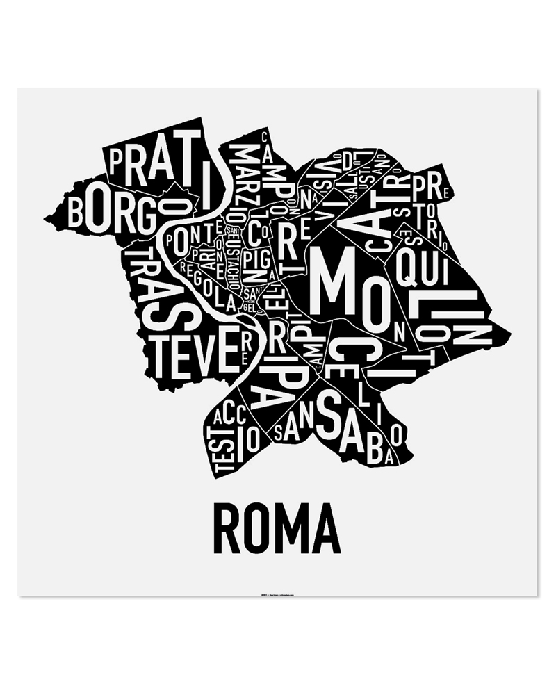 Rioni di roma map 20″ x 20″ classic black white poster