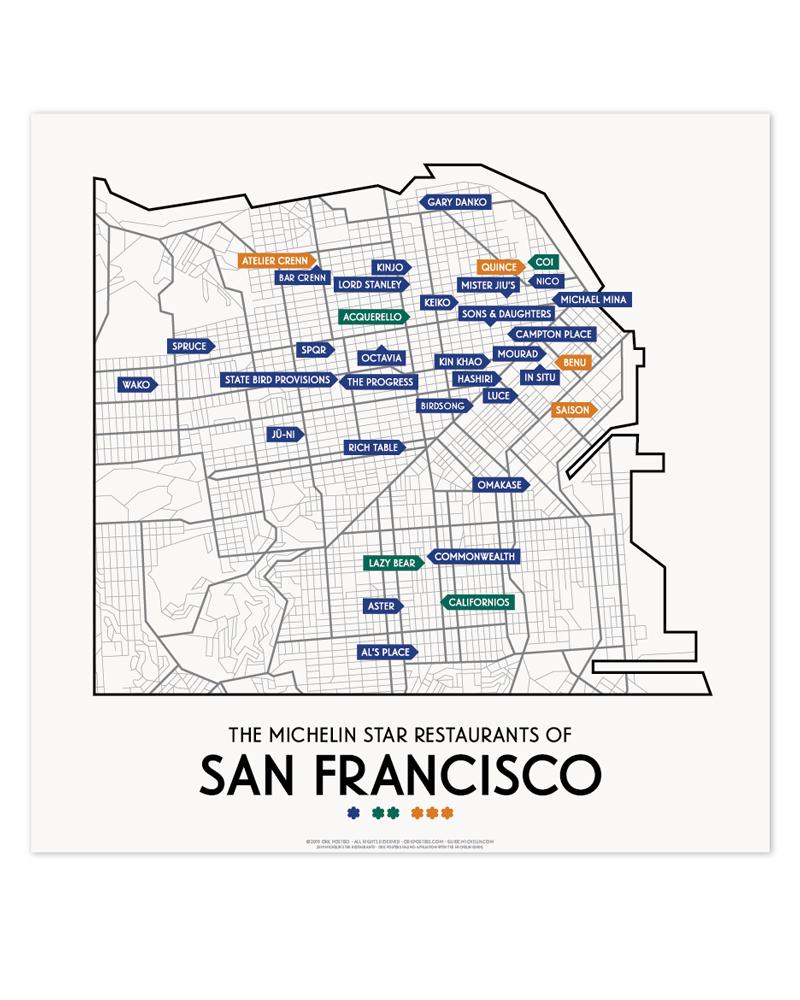 San Francisco 2019 Michelin Star Restaurants Map 12