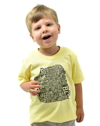 San Francisco Neighborhood Map Kid's T-Shirt, Yellow & Black