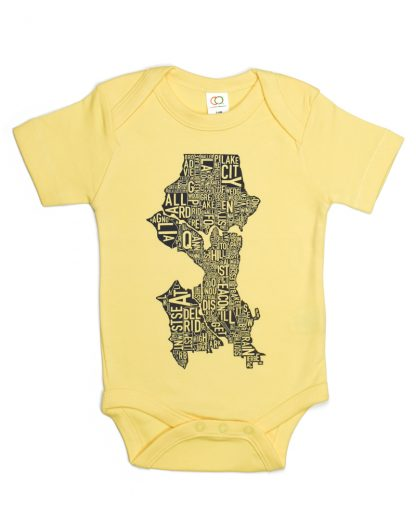 Seattle Washington Neighborhood Map Baby Onepiece Yellow Black