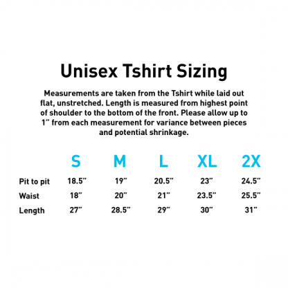 Unisex T-Shirt Size Chart