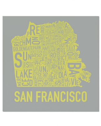 "San Francisco Neighborhood Map Screenprint, Grey & Yellow, 18"" x 18"""