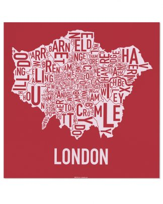 "London Borroughs Map Poster Screenprint, Red & White, 20"" x 20"""