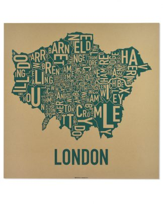"London Borroughs Map Poster Screenprint, Tan & Green, 20"" x 20"""