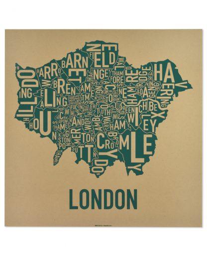 """London Borroughs Map Poster Screenprint, Tan & Green, 20"""" x 20"""""""
