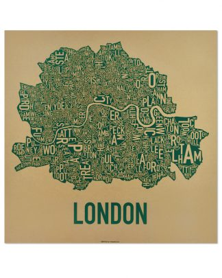 "Central London Neighbourhood Poster, Tan & Green, 20"" x 20"""