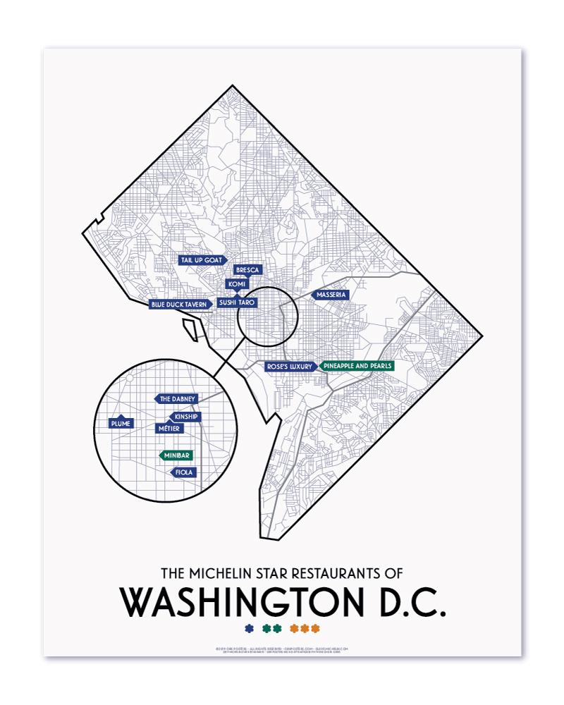 Washington DC 2019 Michelin Star Restaurants Map 11\