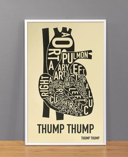 "The Heart Anatomy Art Screenprint, Tan & Black, 11"" x 17"""