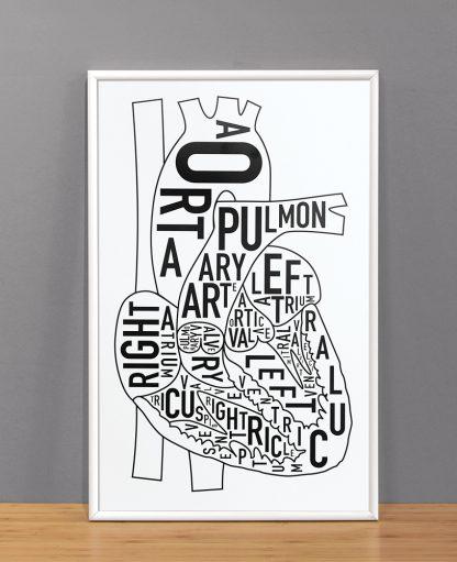 "The Heart Anatomy Art Poster, Classic B&W, 11"" x 17"""