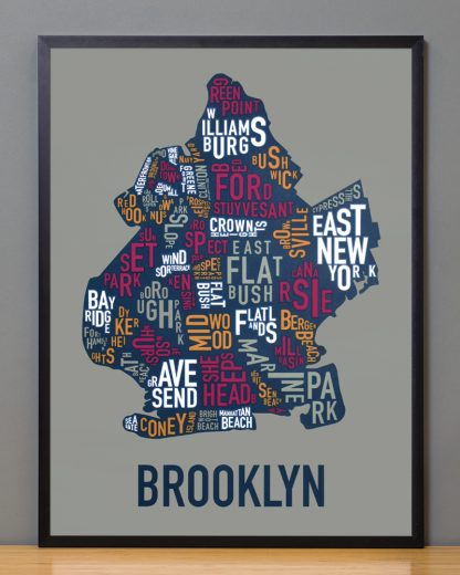 "Framed Brooklyn Neighborhood Typography Map, Multi-Color, 18"" x 24"" in Black Frame"