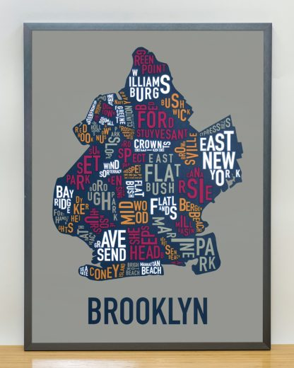 "Framed Brooklyn Neighborhood Typography Map, Multi-Color, 18"" x 24"" in Steel Grey Frame"
