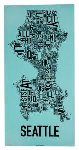 "Seattle ""Rainy Day Blue"" Screen Print"