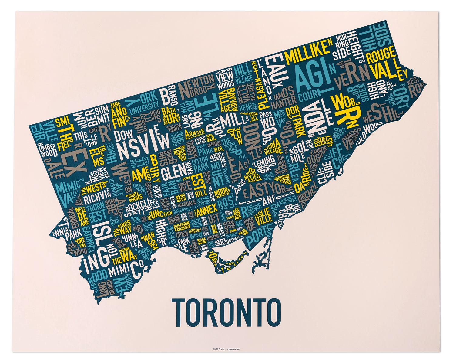 "Toronto Neighbourhood Map Artwork 30"" x 24"" Multi-Color"