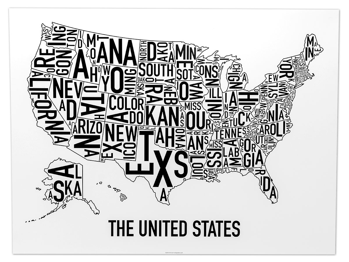 united states map 24 x 18 classic black white poster. Black Bedroom Furniture Sets. Home Design Ideas
