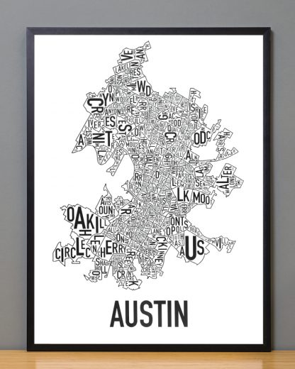 "Framed Austin Neighborhood Map Poster, 18"" x 24"", Classic B&W in Black Frame"
