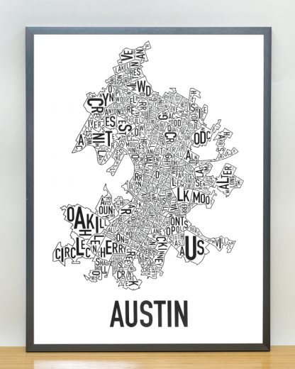 "Framed Austin Neighborhood Map Poster, 18"" x 24"", Classic B&W in Steel Grey Frame"