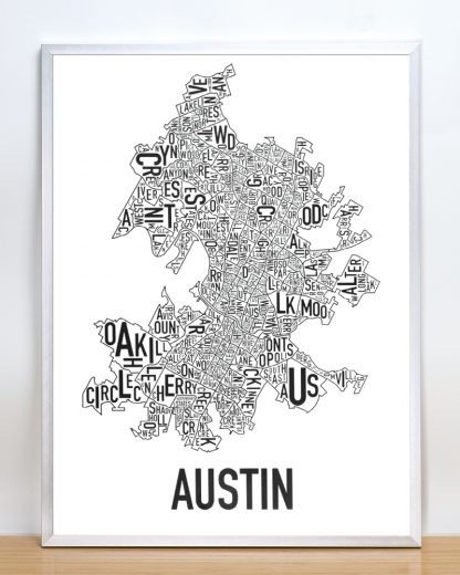 "Framed Austin Neighborhood Map Poster, 18"" x 24"", Classic B&W in Silver Frame"