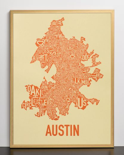 "Framed Austin Neighborhood Map Poster, 18"" x 24"", Tan & Orange in Bronze Frame"