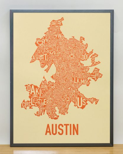 "Framed Austin Neighborhood Map Poster, 18"" x 24"", Tan & Orange in Steel Grey Frame"