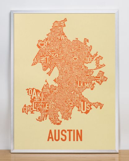 "Framed Austin Neighborhood Map Poster, 18"" x 24"", Tan & Orange in Silver Frame"