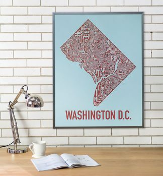 Washington DC Type Neighborhood Map Poster