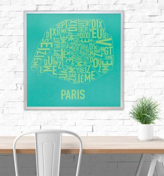Paris Arrondissements Map Poster