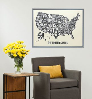 United States Typographic Map Poster
