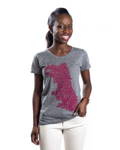 Chicago Map Tshirt womens in gray