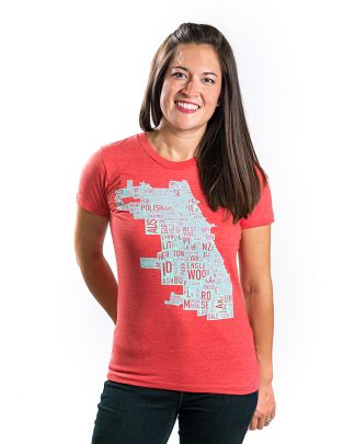 Chicago Map Tshirt Womens sizing in red