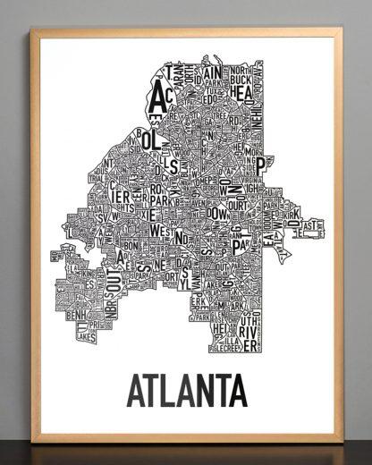 "Framed Atlanta Neighborhood Map Poster, 18"" x 24"", Classic B&W in Bronze Frame"