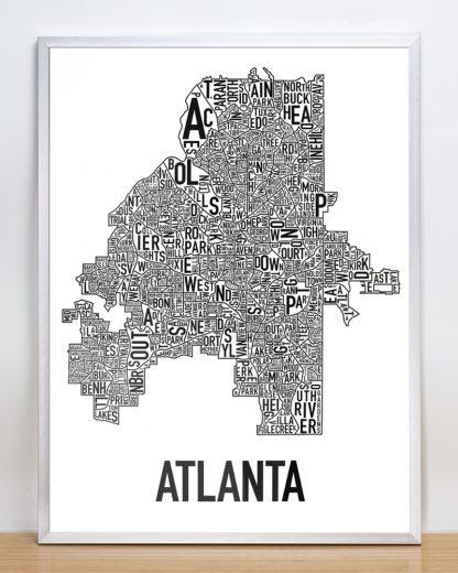 "Framed Atlanta Neighborhood Map Poster, 18"" x 24"", Classic B&W in Silver Frame"