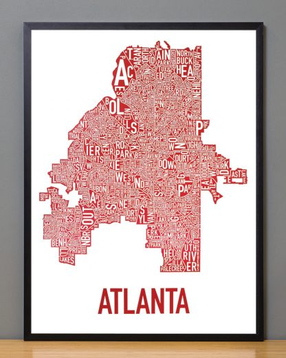 "Framed Atlanta Neighborhood Map Poster, 18"" x 24"", White & Red in Black Frame"