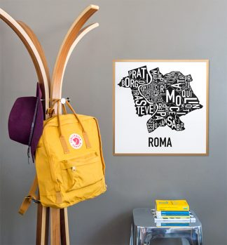 Rome Rione District Map Poster