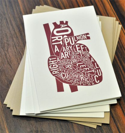 anatomy heart letterpress greeting card love
