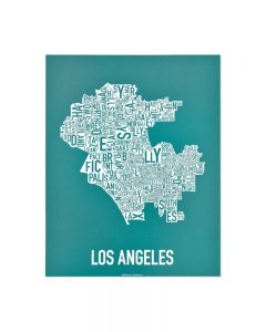 Los Angeles 11x14 Teal & White Screenprint