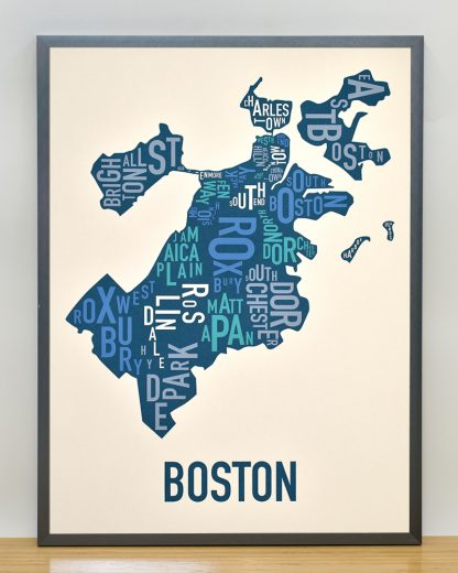 boston neighborhood typography map print in multi-color in gray frame