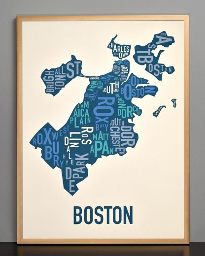 boston neighborhood typography map print in multi-color in bronze frame