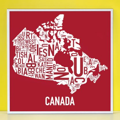 Canada Provinces Map Silkscreen in Silver Frame