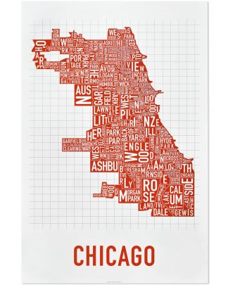 "Chicago Neighborhood Map Poster, Spicy Red, 24"" x 36"""