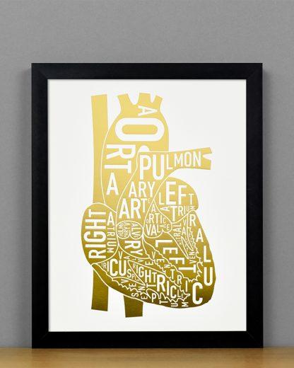 Heart Anatomy Diagram, Gold Foil, in Black Frame