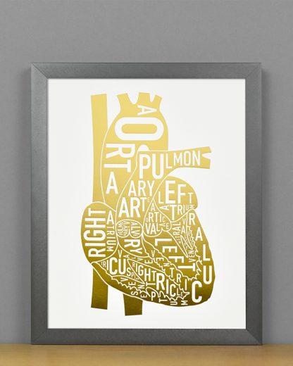 Heart Anatomy Diagram, Gold Foil, in Steel Grey Frame