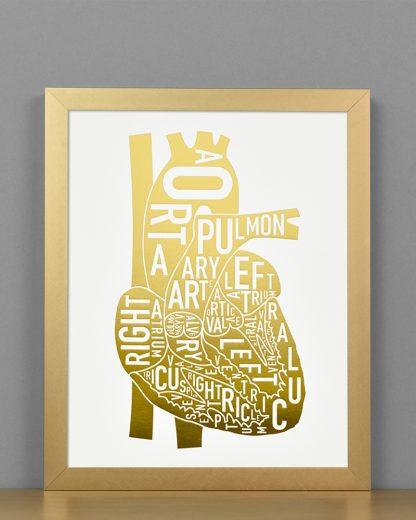 Heart Anatomy Diagram, Gold Foil, in Bronze Frame