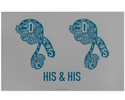 male couple sexual anatomy print grey