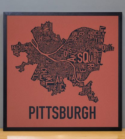 Pittsburgh Neighborhood Map Poster, Rust Red and Navy in Black Frame