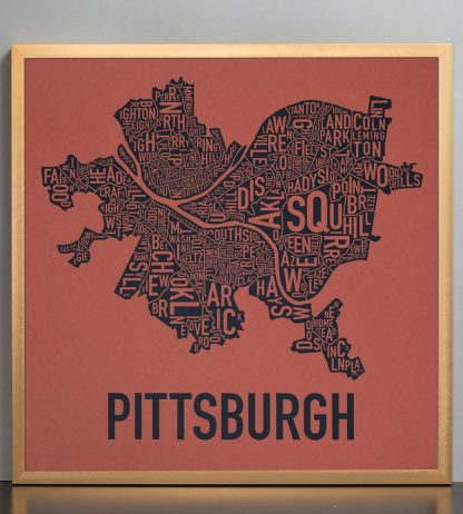 Pittsburgh Neighborhood Map Artwork, Rust Red and Navy in Bronze Frame