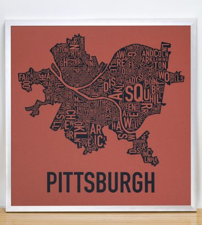 Pittsburgh Neighborhood Map Wall Art, Rust Red and Navy in Silver Frame