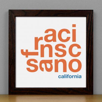 "Framed San Francisco Fun With Type Mini Print, 8"" x 8"", White & Orange in Dark Wood Frame"