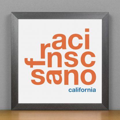 "Framed San Francisco Fun With Type Mini Print, 8"" x 8"", White & Orange in Steel Grey Frame"