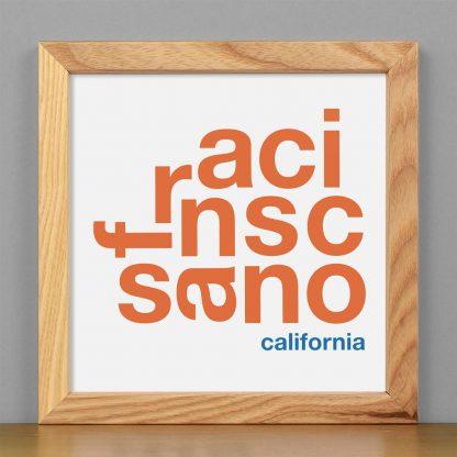 "Framed San Francisco Fun With Type Mini Print, 8"" x 8"", White & Orange in Light Wood Frame"