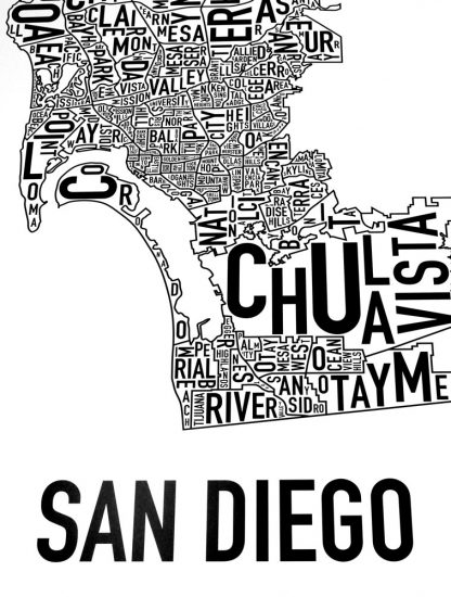 san diego neighborhood typographic map close up